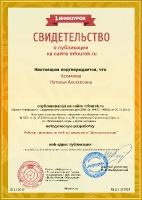 Свидетельство о публикации Асламовой Н.А.